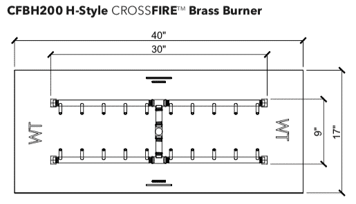 "H-Style Burner: 200,000 BTU Warming Trends Crossfire: 9"" x 30"" Burner"