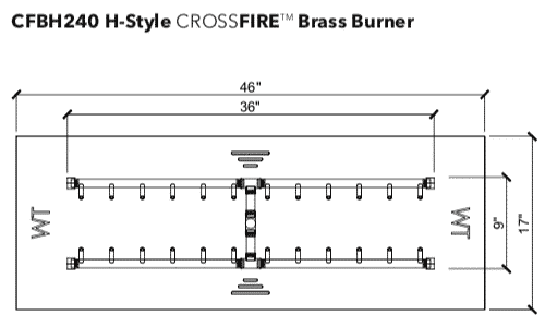 """H-Style Burner: 240,000 BTU Warming Trends Crossfire - For 46"""" x 17"""" Opening or Larger"""