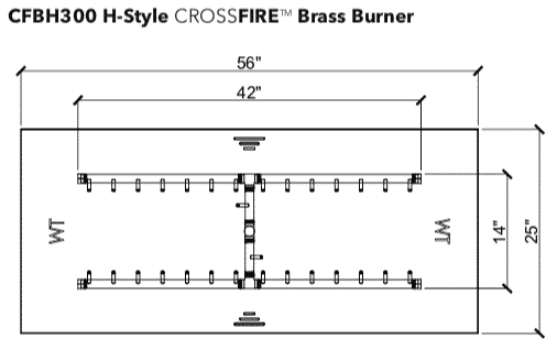 """H-Style Burner: 300,000 BTU Warming Trends Crossfire - For 56"""" x 25"""" Opening or Larger"""
