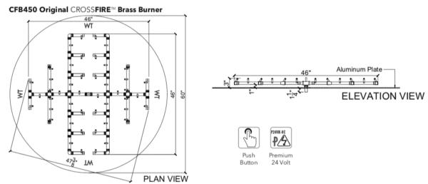 """450,000 BTU Warming Trends Crossfire Burner - Openings 57"""" to 63"""""""