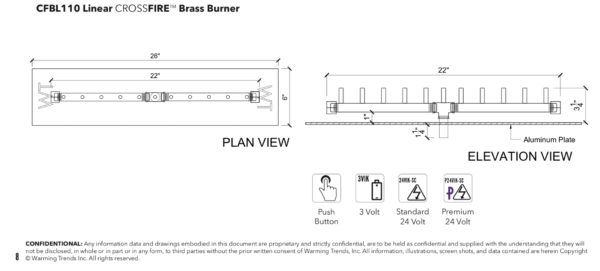 """Linear Burner: 110,000 BTU Warming Trends Crossfire - For 26"""" x 6"""" Opening or Larger"""