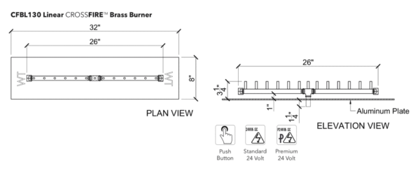 """Linear Burner: 130,000 BTU Warming Trends Crossfire - For 32"""" x 8"""" Opening or Larger"""