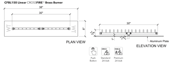 """Linear Burner: 150,000 BTU Warming Trends Crossfire - For 38"""" x 8"""" Opening or Larger"""