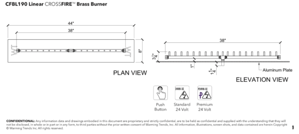 """Linear Burner: 190,000 BTU Warming Trends Crossfire - For 44"""" x 8"""" Opening or Larger"""