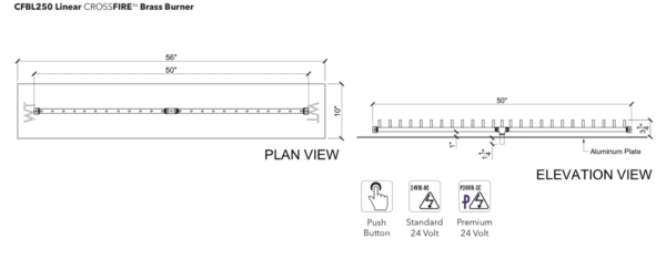 """Linear Burner: 250,000 BTU Warming Trends Crossfire - For 56"""" x 10"""" Opening or Larger"""