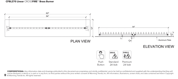 """Linear Burner: 270,000 BTU Warming Trends Crossfire - For 62"""" x 12"""" Opening or Larger"""