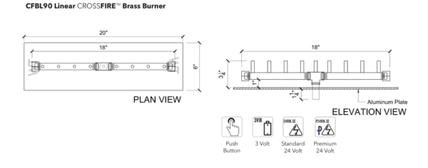 """Linear Burner: 90,000 BTU Warming Trends Crossfire - For 20"""" x 6"""" Opening or Larger"""