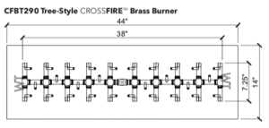 "Tree-Style Burner: 290,000 BTU Warming Trends Crossfire: 7.25"" x 38"" Burner"