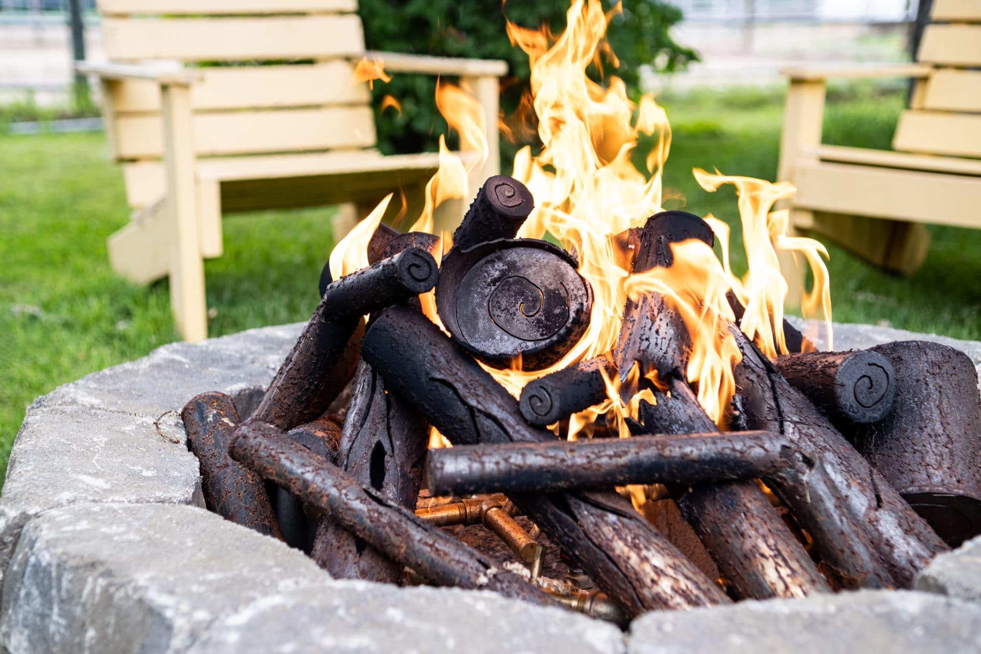 Modern Steel Logs Gas Fire Pit Log Set