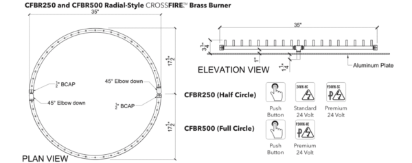 "Radial Burner: 250,000 BTU Warming Trends Crossfire: 35"" Burner"