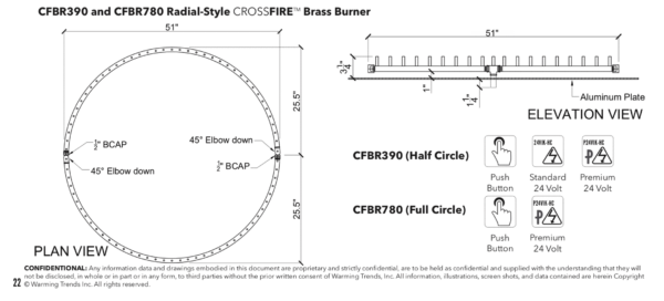 "Radial Burner: 390,000 BTU Warming Trends Crossfire: 55"" Burner"