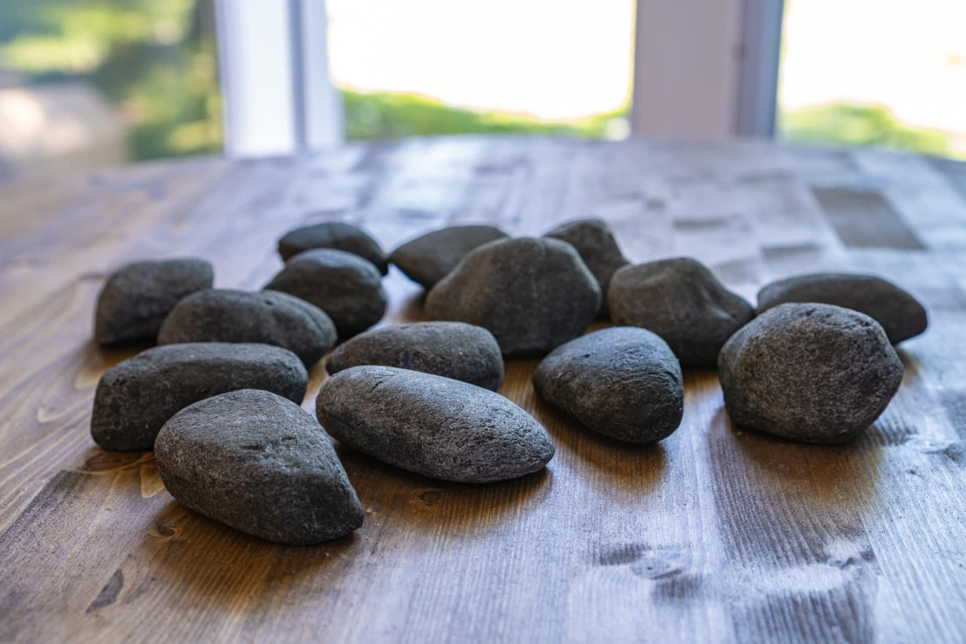 ceramic river stones dark grey