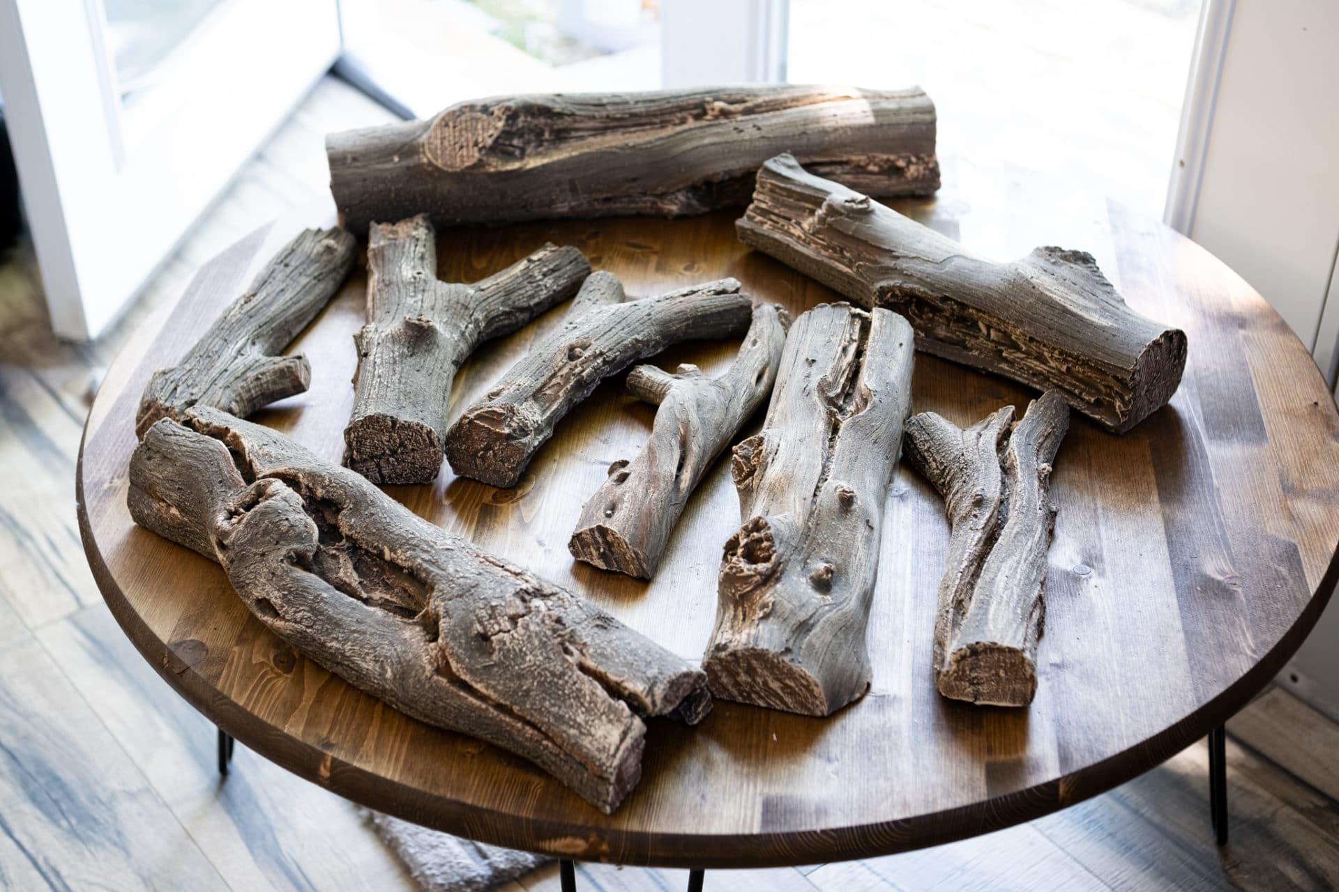 driftwood ceramic logs