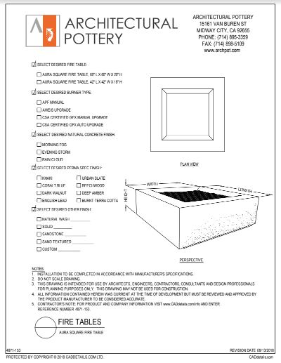 Aura Square Fire Table